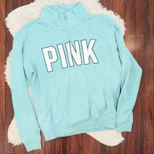 PINK VS Blue Pull Over Partial Zip Sweatshirt